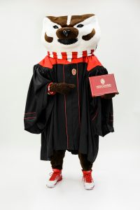 Bucky Badger representing the new commencement gowns