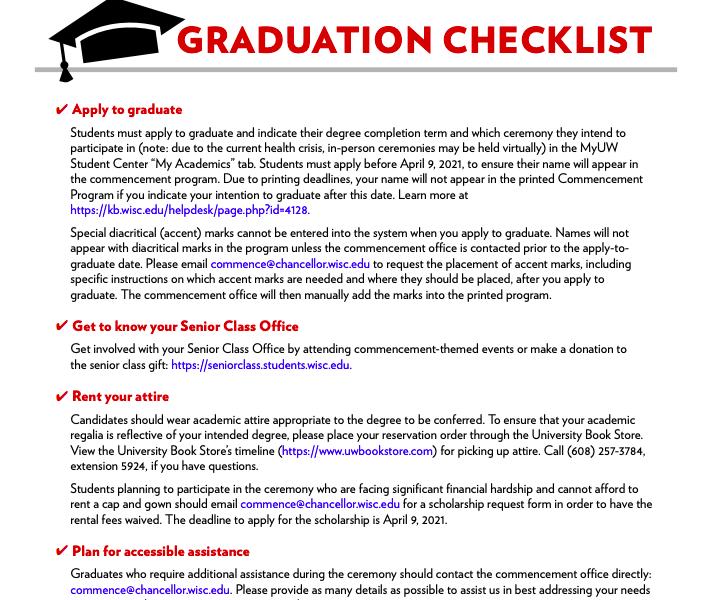 Photo of Graduate Checklist PDF